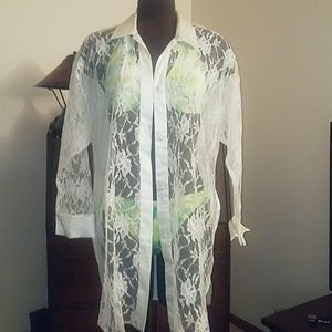 Vintage Victoria's Secret satin and lace cover up
